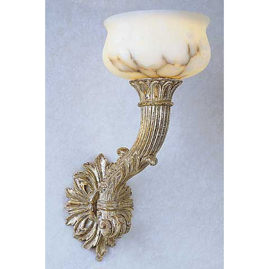 Florentine Carved Wood Wall Torch with Alabaster