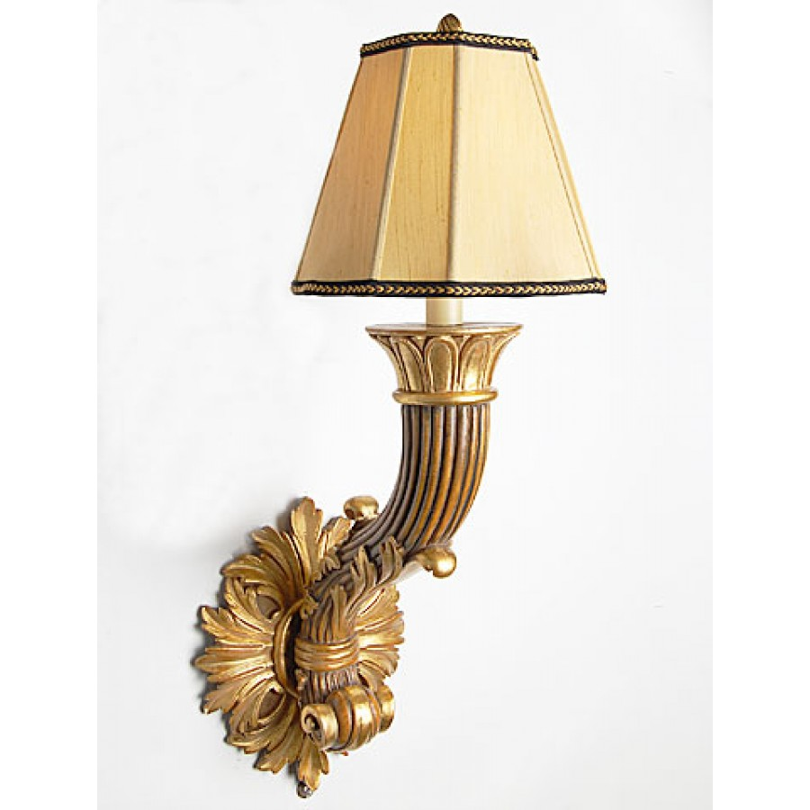 Wood Wall Sconce with Shade