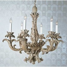 Carved Wood Chandelier Leaves And Pineapple