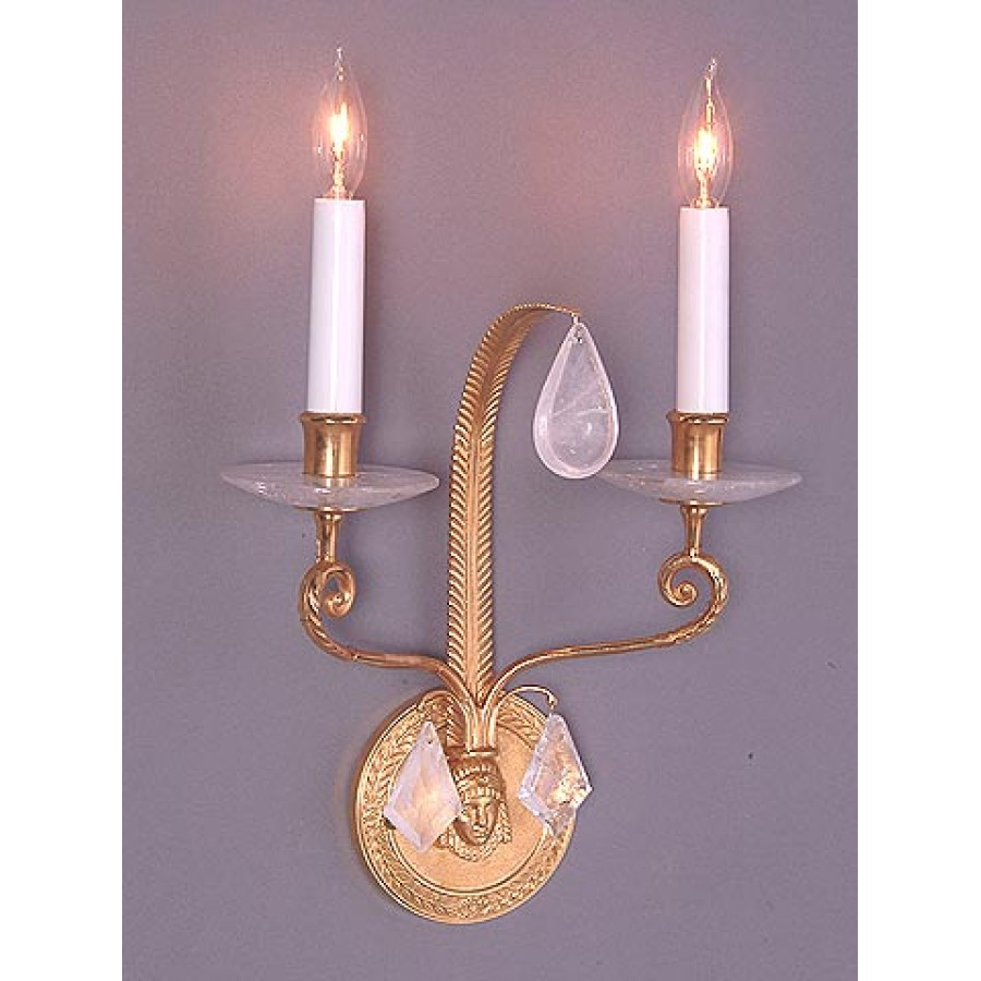 Bronze Wall Sconce with Rock Crystal