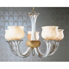 Art Deco Chandelier with Alabaster Bowls