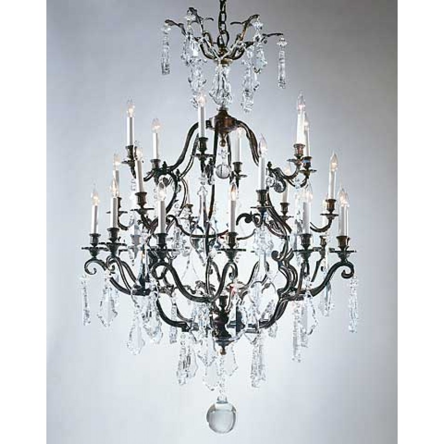 Bronze Chandelier with Czech Crystal and Strass