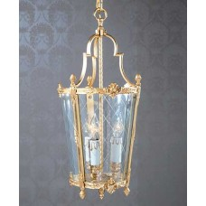 Bronze Dore Lantern with Cross Etched Curved Glass