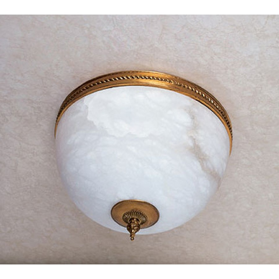 Alabaster and Bronze Ceiling Fixture