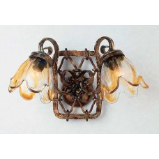 Hand Forged Iron with Murano Glass Wall Sconce