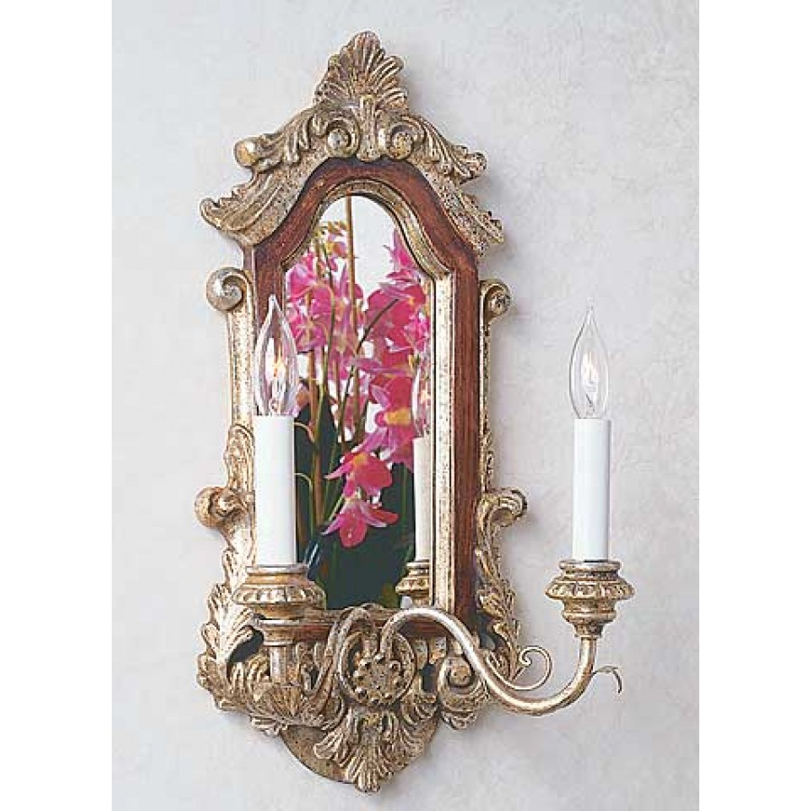 Carved Wood Wall Sconce with Mirror