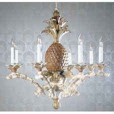 Hand Carved Wood Chandelier with Pineapple