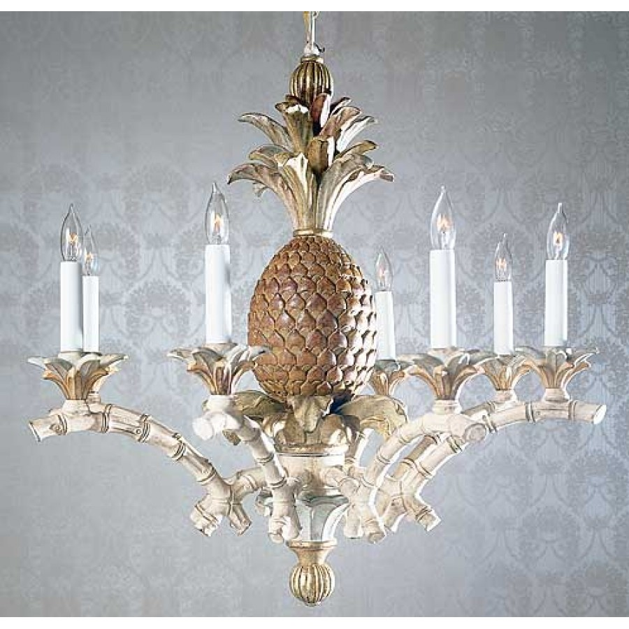 Hand carved wood chandelier with pineapple aloadofball Gallery