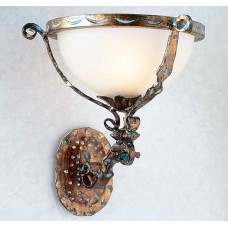 Hand Forged Iron And Murano Glass Wall Sconce