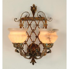 Hand Forged Iron And Alabaster Wall Sconce