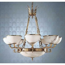Cast Brass Chandelier with Amber Alabaster Bowls