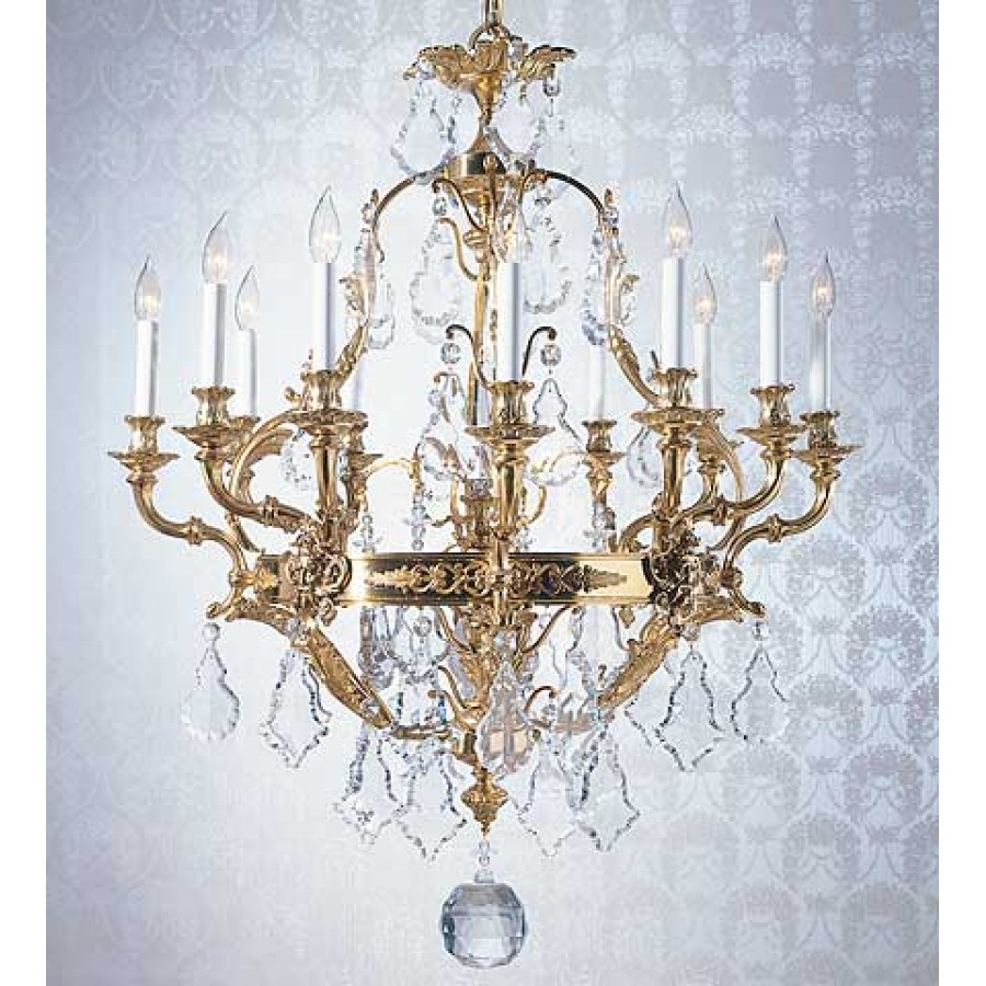 Cast Bronze Reproduction Chandelier with Crystal