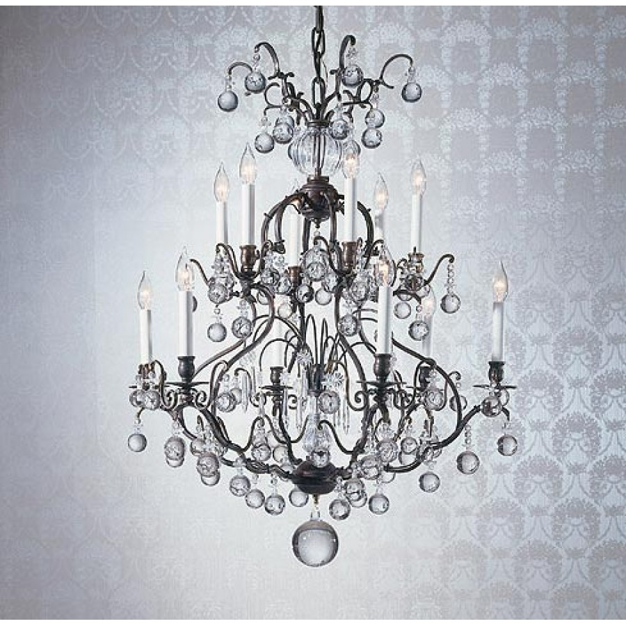 Bronze Versailles Chandelier with Crystal Spheres