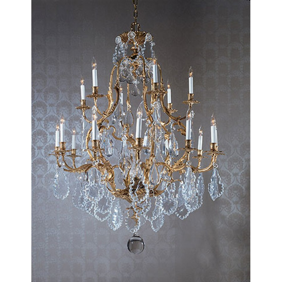 Cast Bronze Chandelier Dressed with Czech Crystal