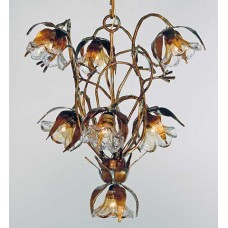 Hand Wrought Iron And Glass Chandelier