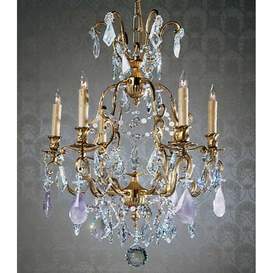 Bronze Chandelier with Czech Crystal and Amethyst