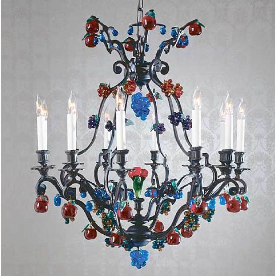 Bronze Chandelier with Crystal Fruit