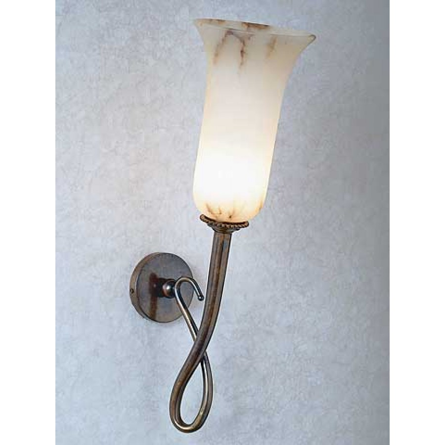 Old Bronze Sconce with Alabaster