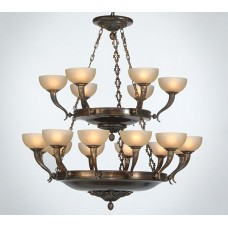 Oxidated Bronze And Glass Chandelier