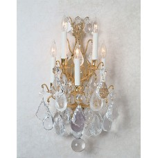 Versailles Sconce with Rock Quartz & Real Amethyst