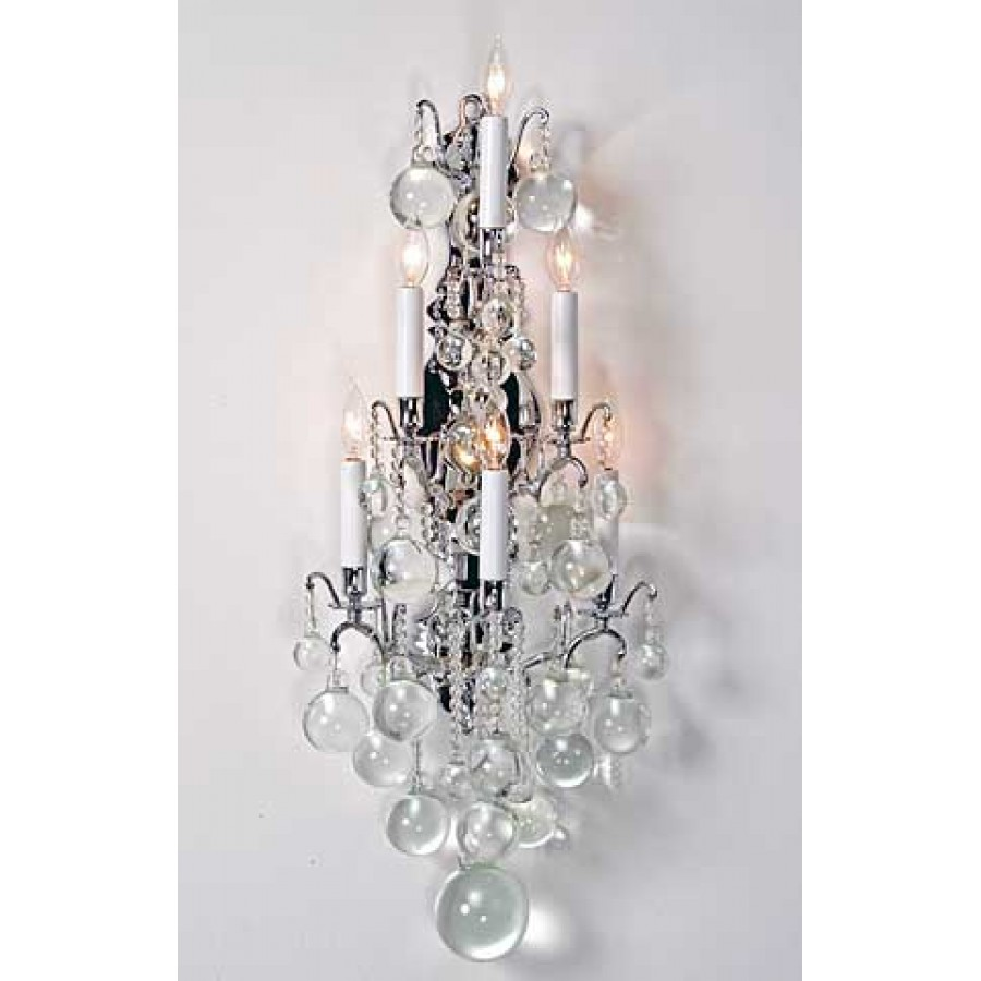 Versailles Sconce with Clear Crystal Spheres