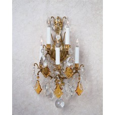 Versailles Sconce Dressed with Amber And Clear Cut