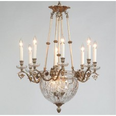 24% Lead Hand Cut Crystal And Bronze Chandelier