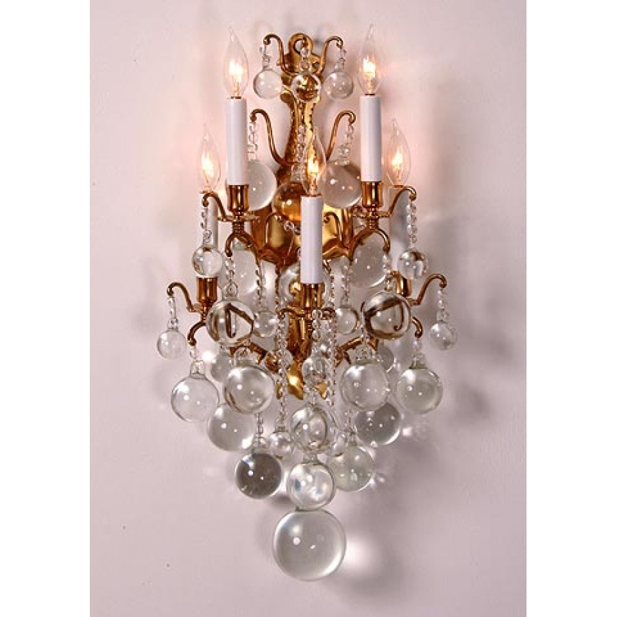 Versailles Wall Sconce with Clear Crystal Sheres