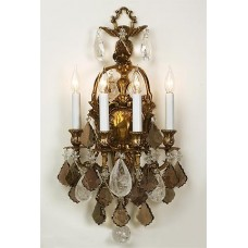 Cast Bronze Sconce with Semi-Precious Crystals