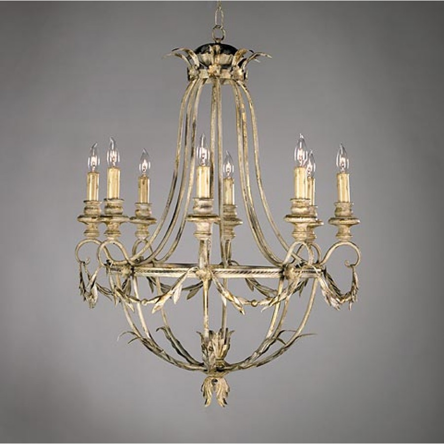 Drape and leaf Iron Chandelier