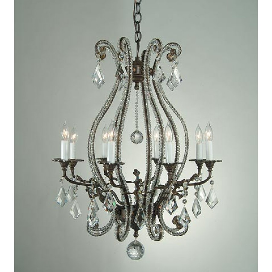Bronze Chandelier with Strass Beading