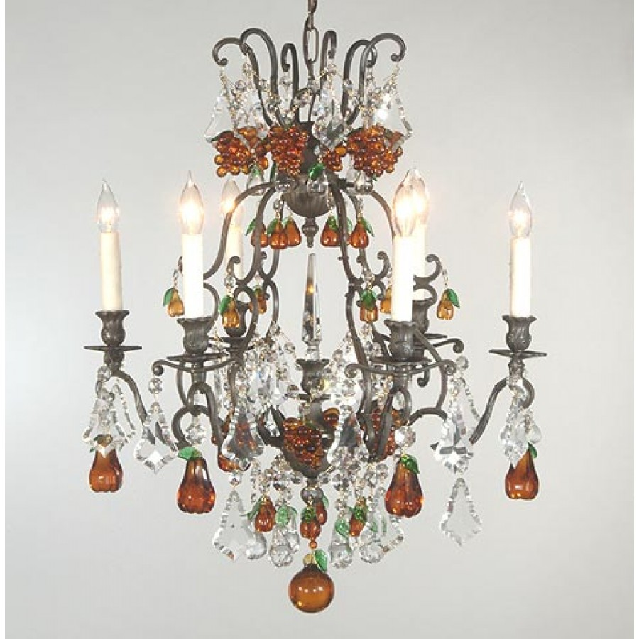 Bronze Chandelier With Fruits