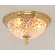 Bronze and Cut Crystal Flush Mount