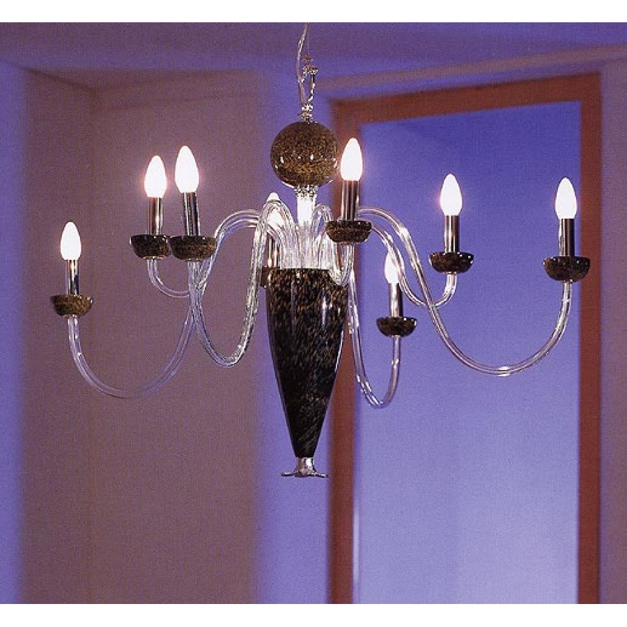 Chrome and Art Glass Chandelier