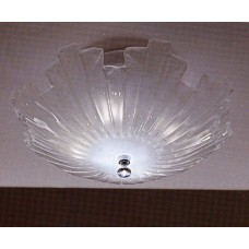 Art Glass and Chrome Flush Mount