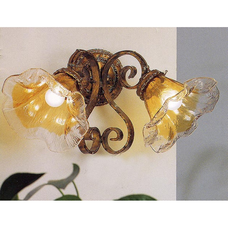 Iron Wall Sconce with Amber Glass