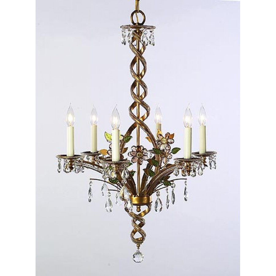 Iron and Crystal Chandelier
