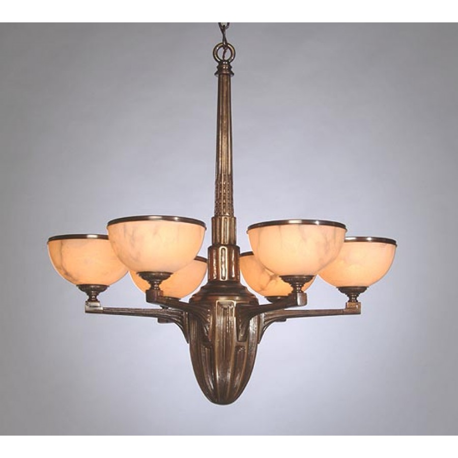 Sand Cast Bronze Chandelier with Alabaster