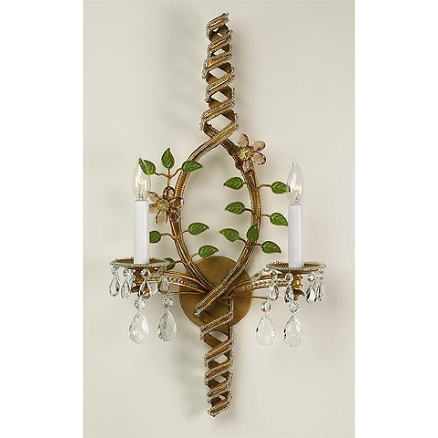 Iron and Crystal Wall Sconce