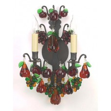 Bronze Sconce with Crystal Fruits