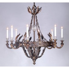 Bronze Chandelier with Crystal Fittings