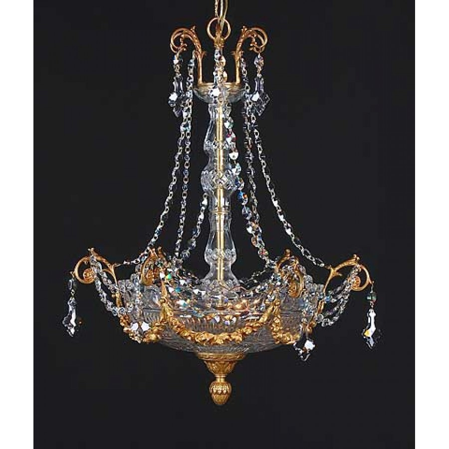 Bronze and Cut Crystal Chandelier