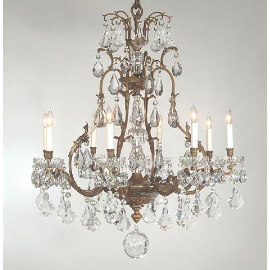 Bronze Cast Chandelier with Cut Crystals
