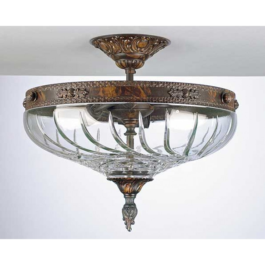 Bronze and Lead Crystal Semi Flush