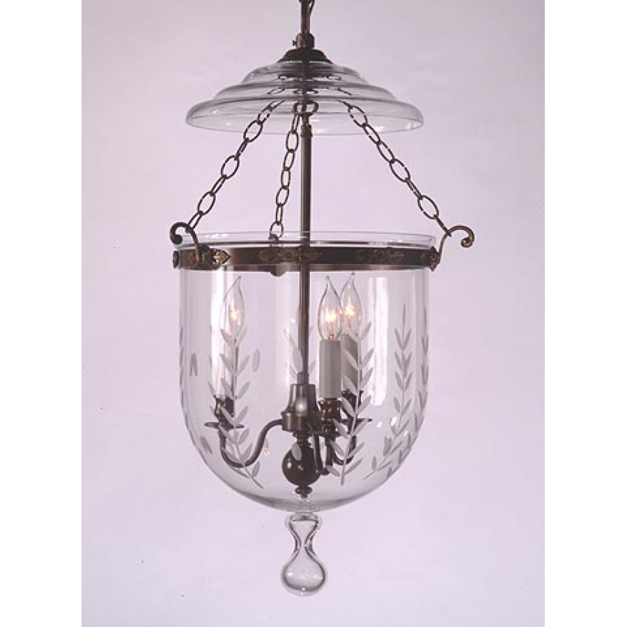 Etched Bell Glass Lantern