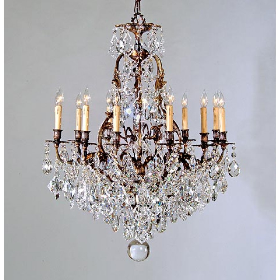 Casted Chandelier with Czech Crystals