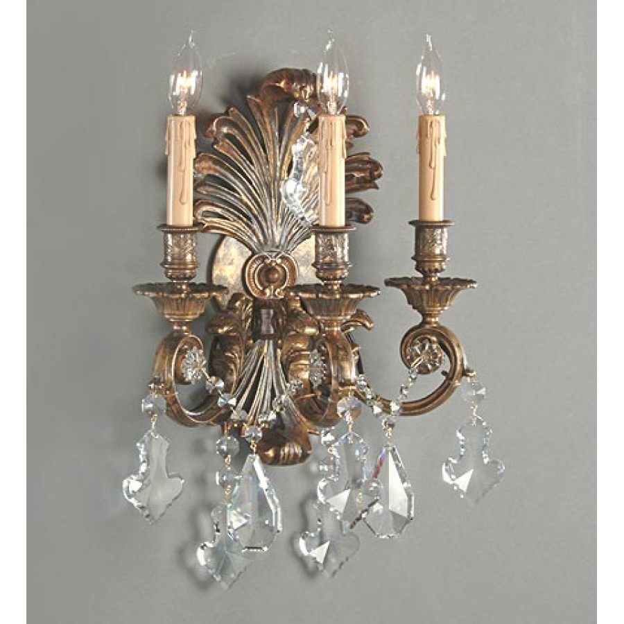 Bronze Wall Sconce with Crystals