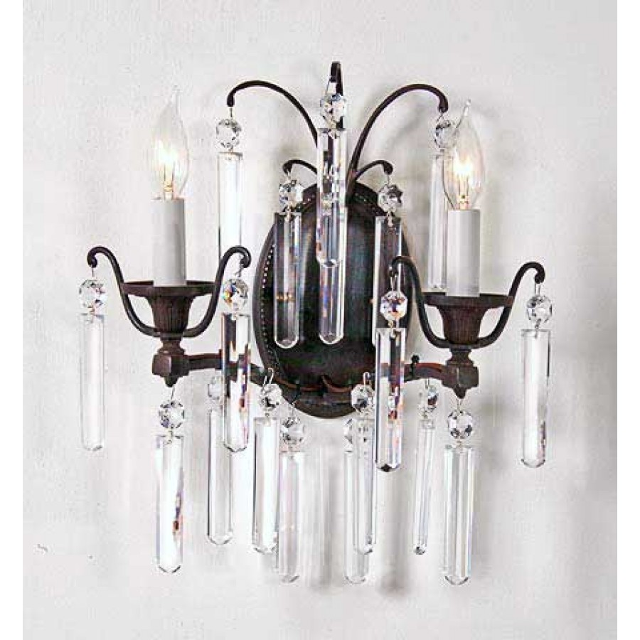 Bronze Wall Sconce with Crystal