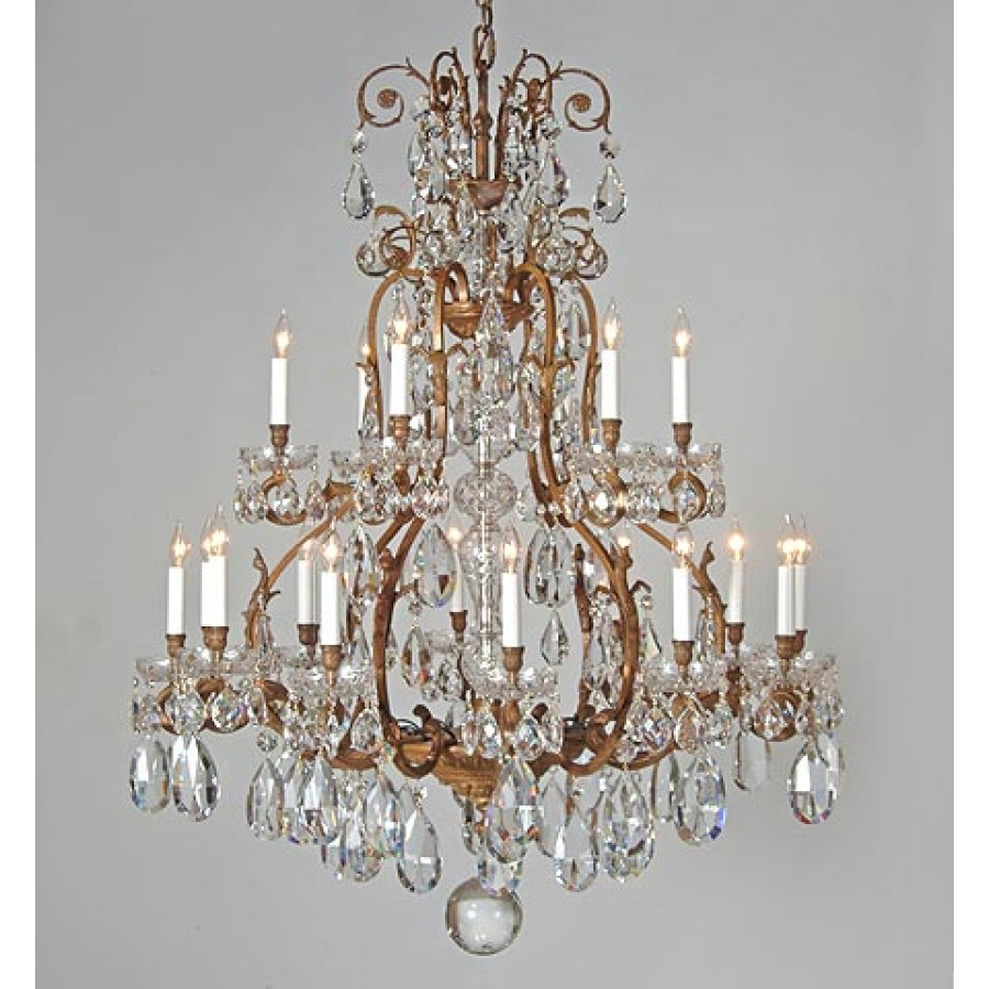 Bronze Cast Chandelier with Crystal