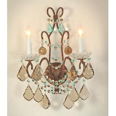 Iron Wall Sconce with Crystal